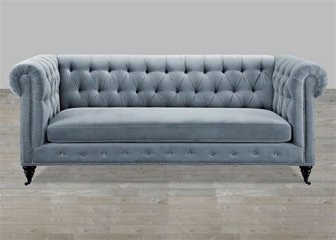 buttoned couch grey velvet sofa button tufted