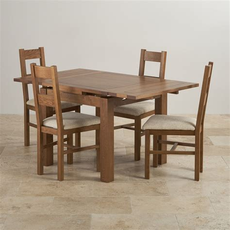 Rustic Farmhouse Dining Table And Chairs Rustic Oak Dining Set 3ft Table With 4 Beige Chairs