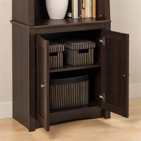 Slant Back Bookcase With Shaker Doors In Espresso Esbh Espresso Bookcase With Doors