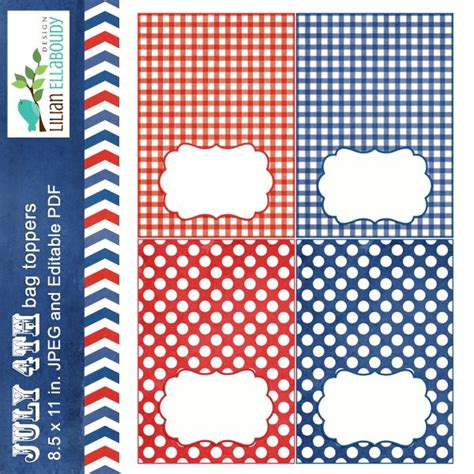 printable gingham labels july 4th bag toppers four editable digital labels in