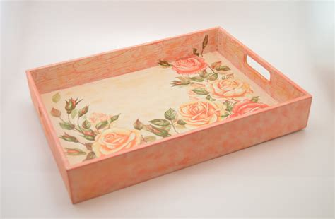 decoupage wood wooden decoupage tray wooden tray decoupage tray shabby