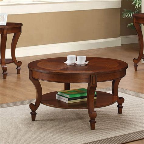 coaster coffee table with curved legs in warm brown 704408