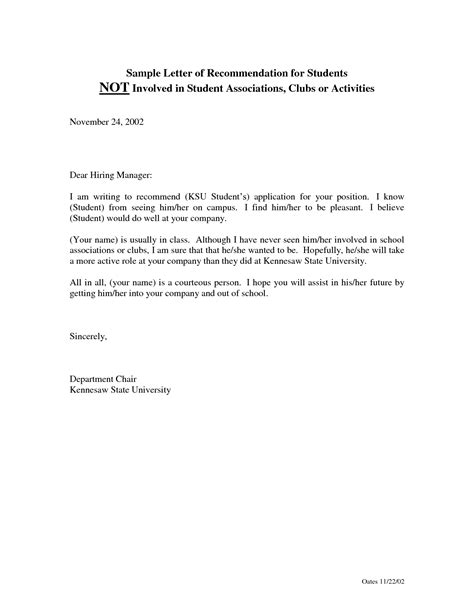 Recommendation Letter For A Student Format Sle Recommendation Letter For Student Bbq Grill Recipes