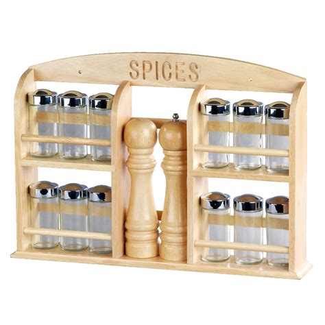 Salt And Pepper Spice Rack salt and pepper pepper mill kitchen wooden spice rack with 12pcs jars and 1 set of 8 quot salt