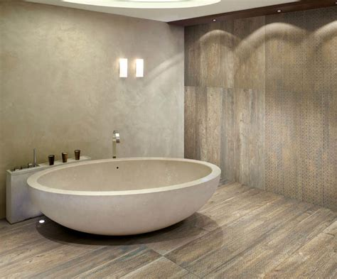 tiling on wooden floors bathroom wood look porcelain tile bathroom contemporary with