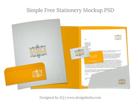 free stationery mockup psd letterhead business card