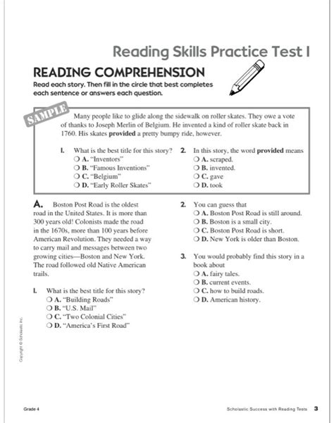 reading comprehension test new york scholastic success with reading tests grade 4 by