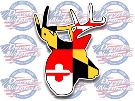 Auto Decal Installation In Maryland by Maryland Md State Flag Buck Deer Whitetail Vinyl Car