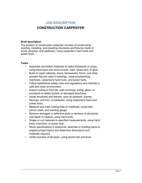 construction description template construction carpenter description template sle