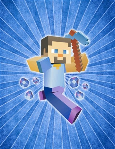 printable minecraft poster minecraft steve character inspired poster pick color 8x10