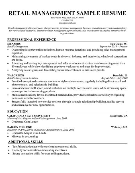 retail management resume template retail sales manager resume exles quotes