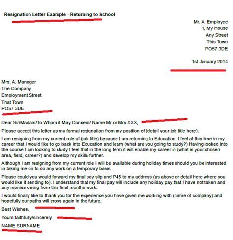 resignation letter returning school