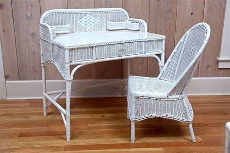 antique deco wicker desk and chair for sale at 1stdibs