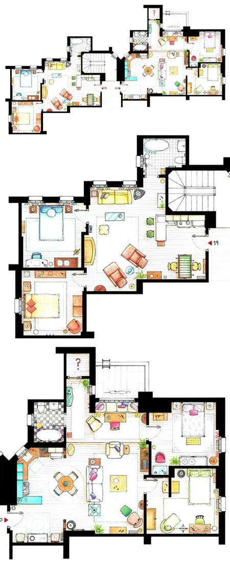 monica and rachel s apartment chandler joey monica rachel s apartments drawings