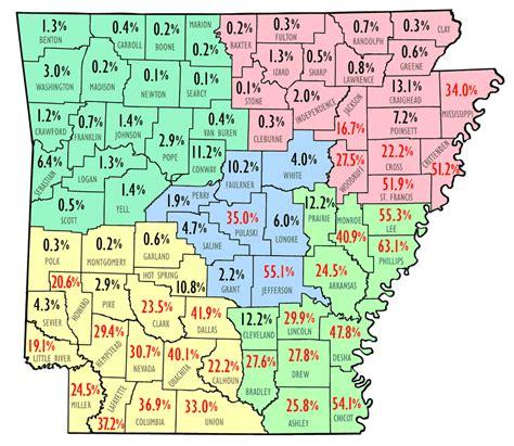 us map showing arkansas american population map encyclopedia of arkansas