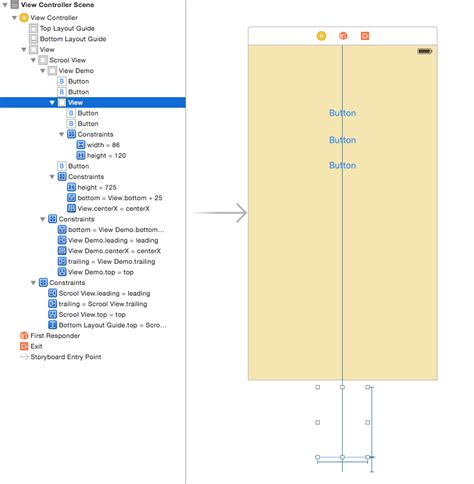 xcode uiscrollview tutorial storyboard ios how to pin uiview to the bottom of uiscrollview in