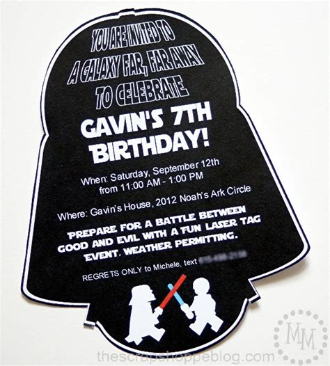 darth vader birthday card template wars darth vader birthday invitation the scrap shoppe