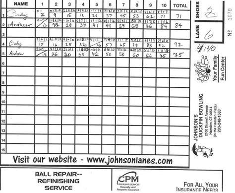 Ten Pin Bowling Score Sheet Template by 100 Bowling Score Sheet Template Bowling Score