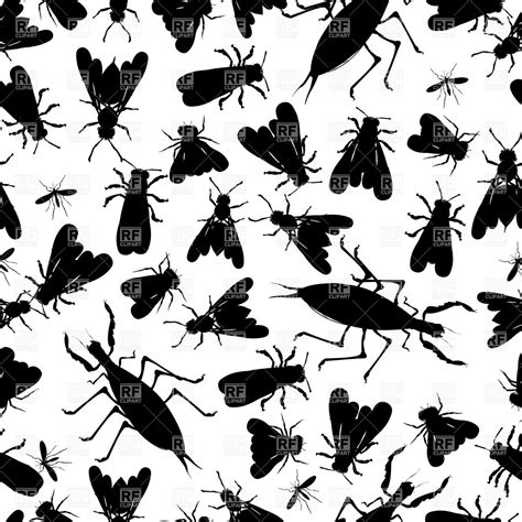 pattern silhouette vector seamless pattern with silhouettes of insects plants and