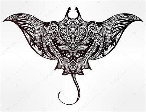 stingray in maori tribal ornament decor stock vector