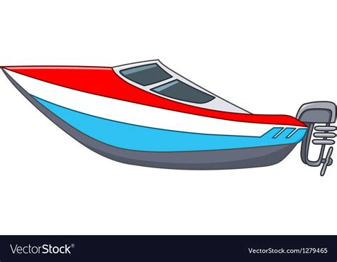 cartoon motorboat royalty free vector image vectorstock - Cartoon Boat Motor