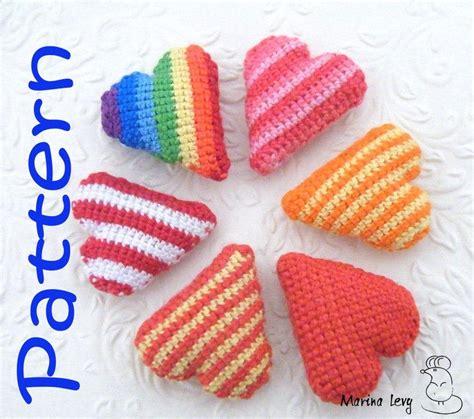 heart pattern amigurumi crocheted striped heart pattern marina levy s handmade