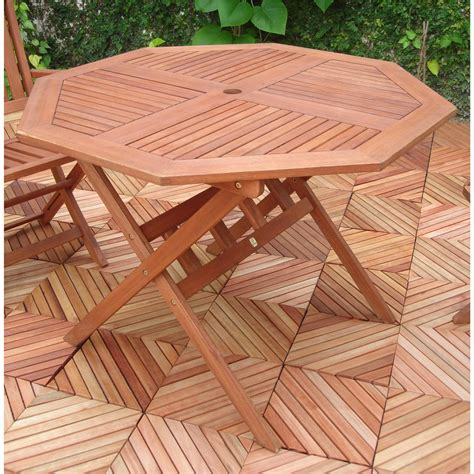 Vifah 174 Octagonal Outdoor Wood Table 218658 Patio Octagon Patio Table