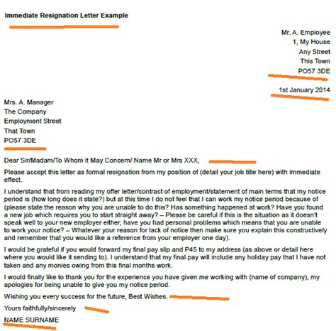 Immediate Resignation Letter For Working Abroad Immediate Resignation Letter Exle Toresign