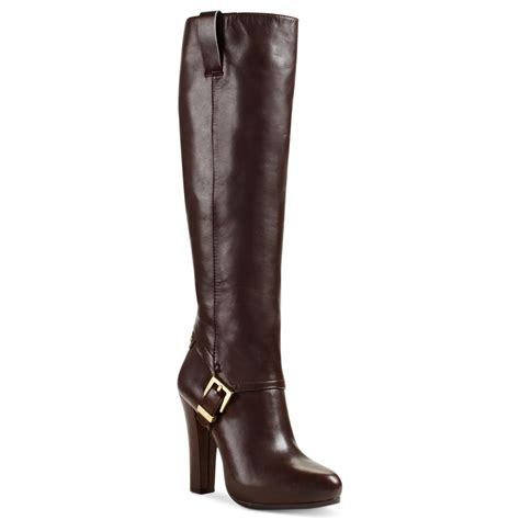 high heel boot shoes michael kors tamara high heel dress boots in brown coffee