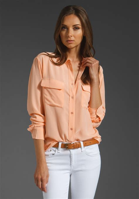 Revolve Clothing Gift Card - equipment signature blouse in peach nectar at revolve clothing free shipping