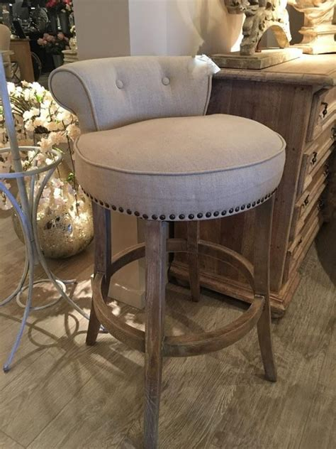 Bar Stools With Studs by Beige Linen Stud Roll Top Bar Stool Mulberry Moon