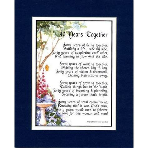 Wedding Anniversary Poems by 40th Anniversary Poems Quotes Quotesgram