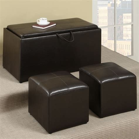 Modern Cocktail Ottoman Bobkona 3 Pcs Cocktail Ottoman Espresso Faux Leather Contemporary Footstools And Ottomans