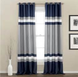 Navy Grey Curtains Modern Navy Blue Gray White Color Black Stripe Grommet