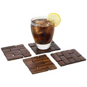 Wooden Drink Coaster by Brick Bamboo Drink Coasters Set Of 4