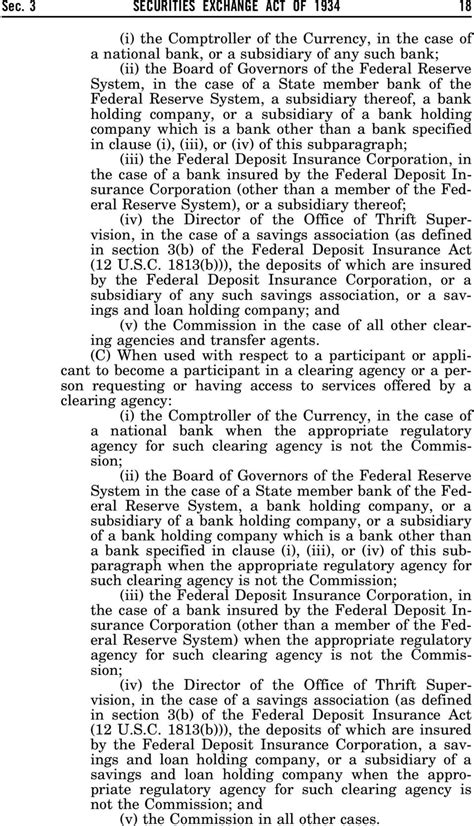 federal deposit insurance act section 19 securities exchange act of 1934 as amended through p l