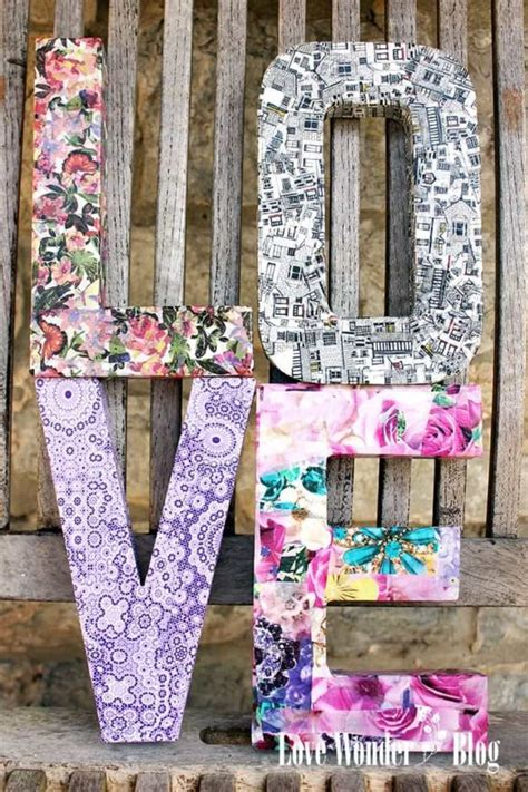 How To Make Decoupage Letters - monogram wall hanging ideas easy