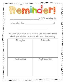reminder templates for teachers parent input and reminder form for iep meetings by