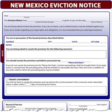 Demand Letter New Mexico New Mexico Eviction Notice