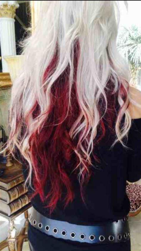 pink highlight on the end tween tween red tips on blonde hair platinum top light maroon