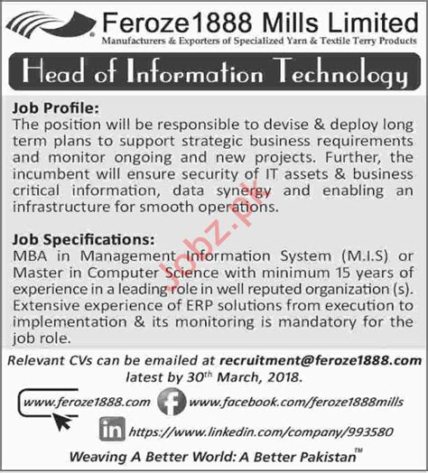 Career Opportunities After Mba In Information Technology by Feroze 1888 Mills Limited Fml Opportunities 2018
