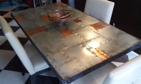 copper dining room tables greylock copper top dining copper zinc dining table rustic and modern riveted