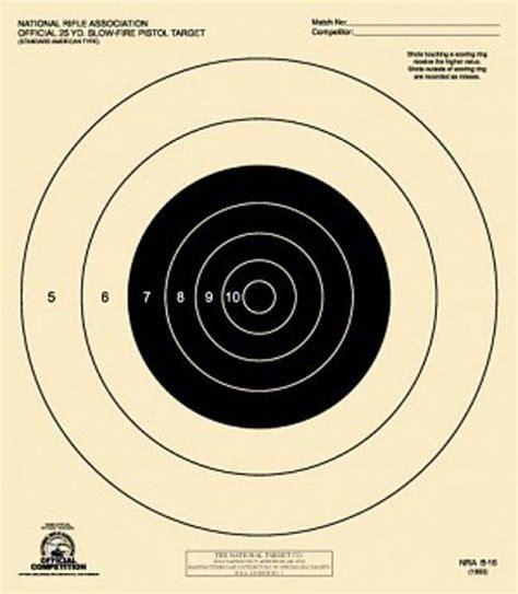 printable pistol 10 yard targets b 16 b16 nra official 25 yard slow fire pistol target