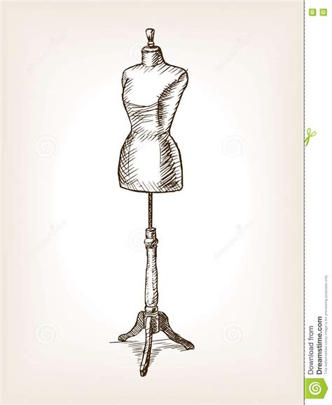 fashion design mannequin sewing mannequin sketch vector illustration stock vector
