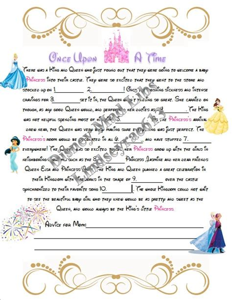 Disney Princess Baby Shower by Instant Disney Princess Baby Shower Mad Libs Baby