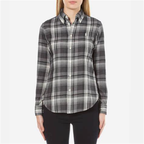 plaid curved hem skirt black gray olu2kjol polo ralph s brushed plaid shirt
