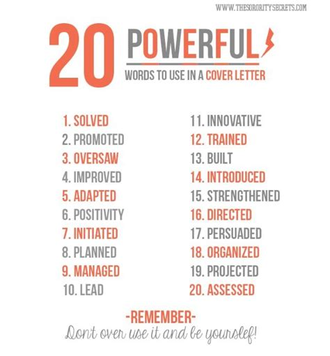 20 powerful words to use in a cover letter cover letters