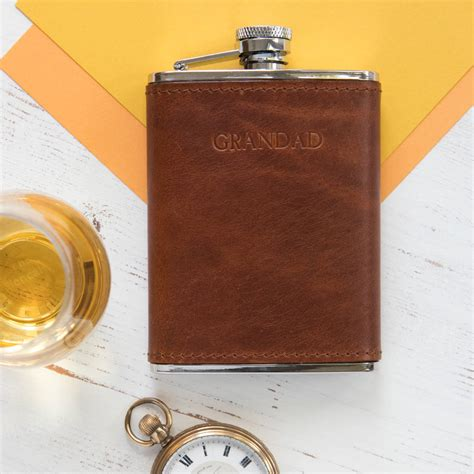 Handmade Hip Flask - personalised 6oz leather hip flask by williams handmade