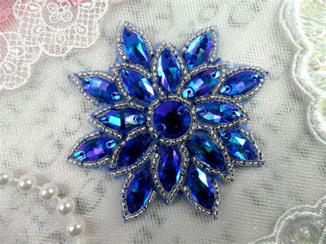 glass applique glass snowflake applique borealis saphire blue