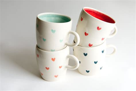 Heart Pattern Mugs | coffee mug set of 4 heart pattern in teal coral red and by